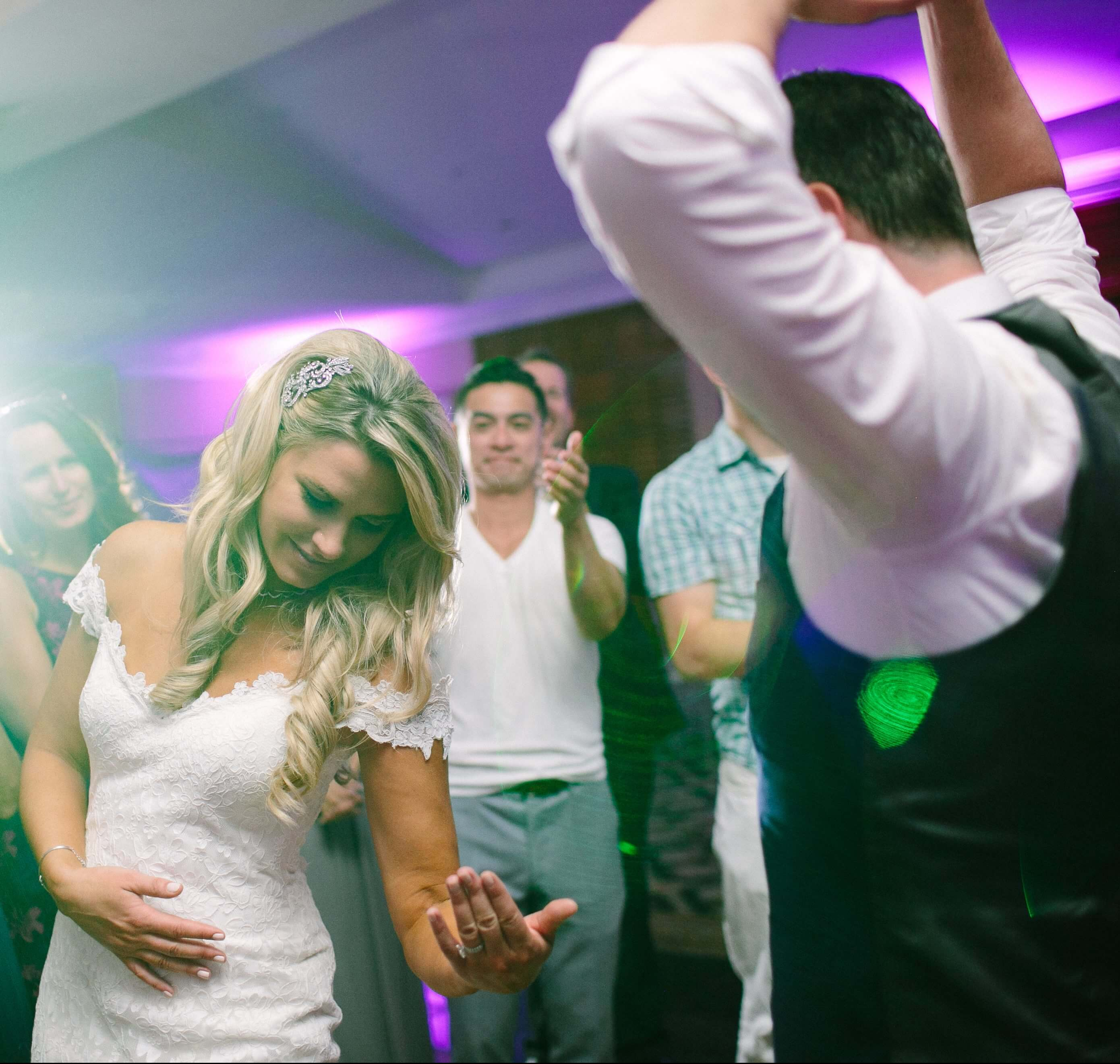 Bride and groom dancing at Wiley Entertainment wedding reception