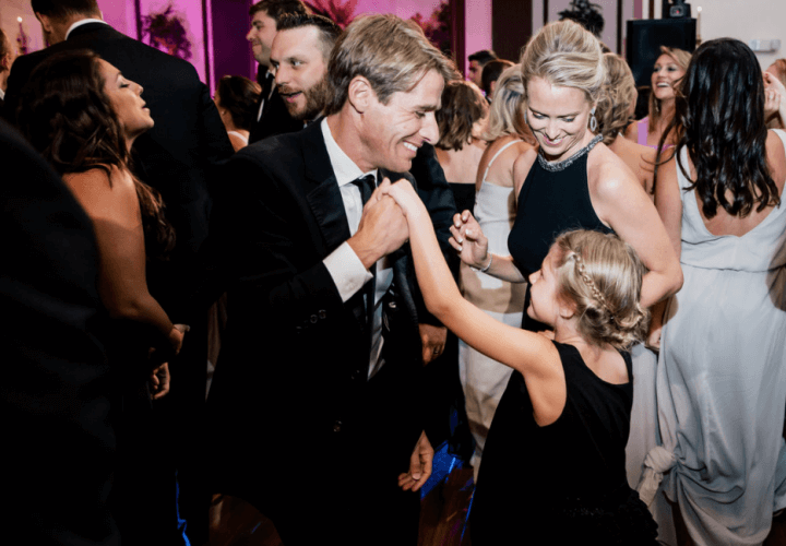 Family dancing at Wiley Entertainment wedding reception