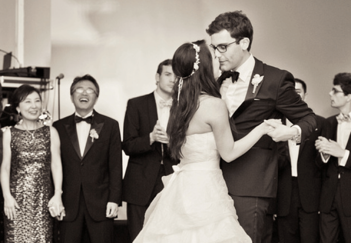 Bride and groom's first dance at Wiley Entertainment wedding reception